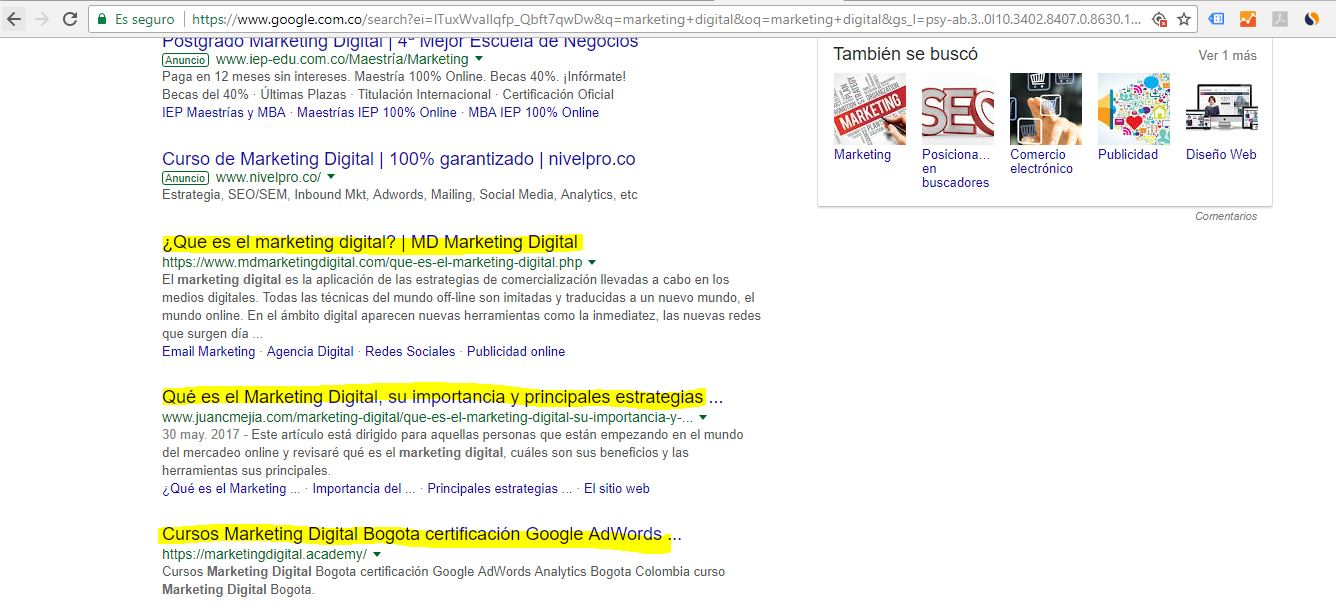 posicionamiento orgánico de google SEO